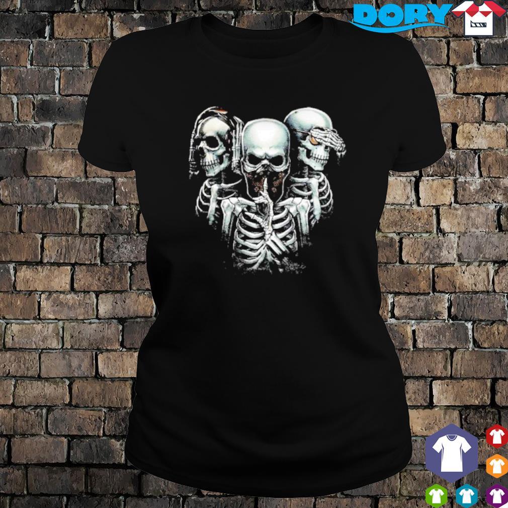 Hear no evil see no evil speak no evil skulls s ladies tee