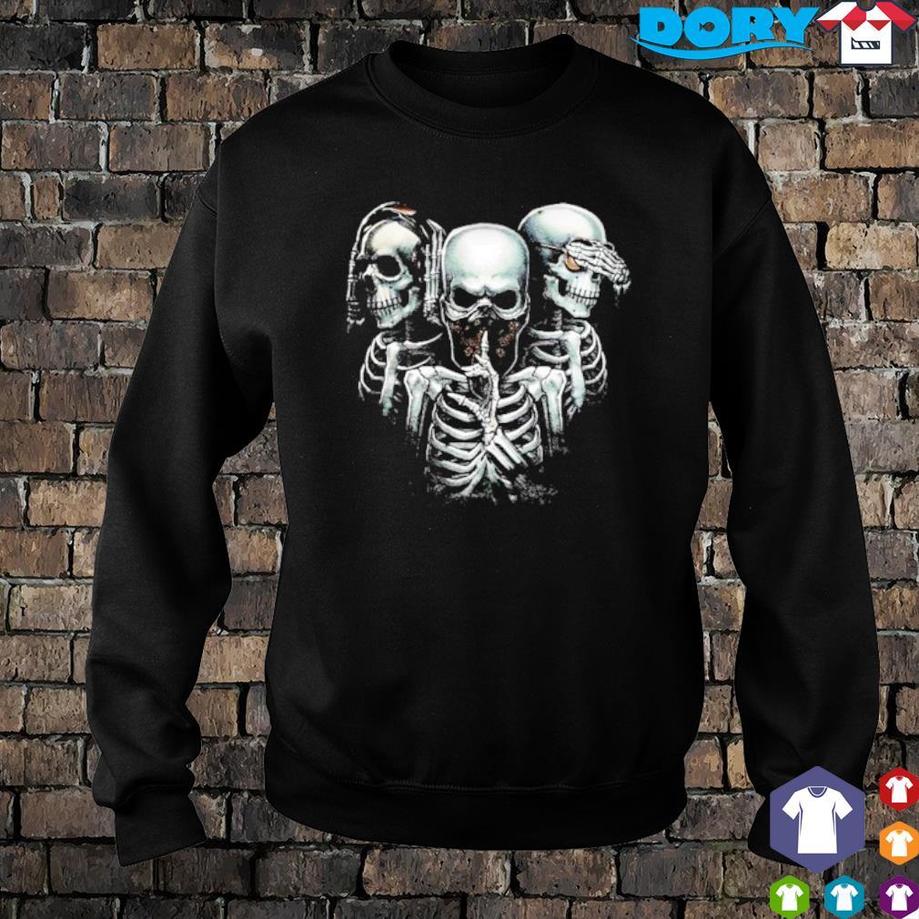 Hear no evil see no evil speak no evil skulls s sweater