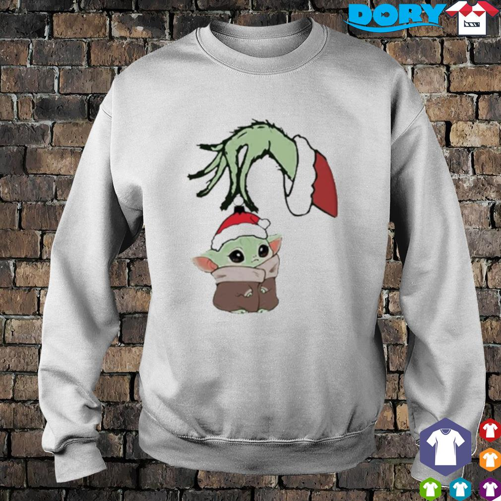Grinch hand holding Baby Yoda Christmas s sweater