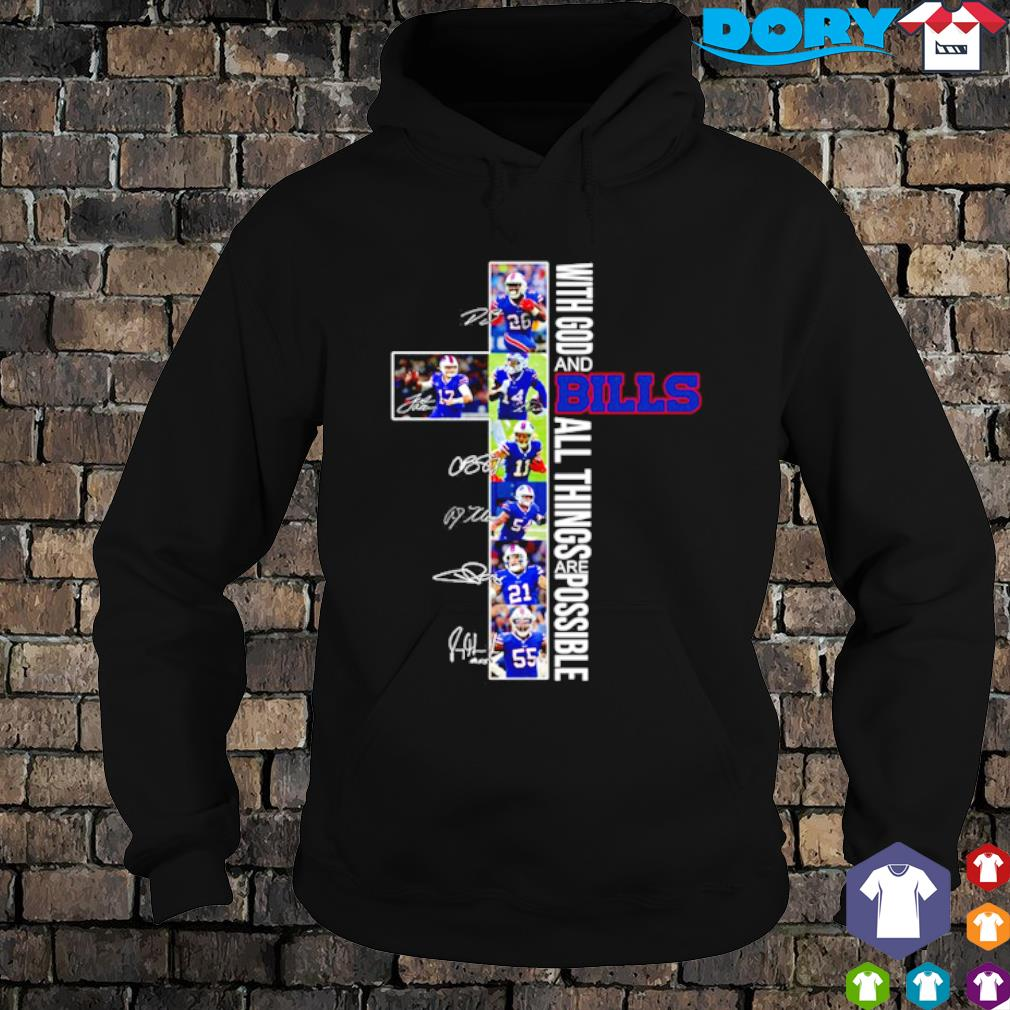Christ with God and Bills all things are possible players signature s hoodie