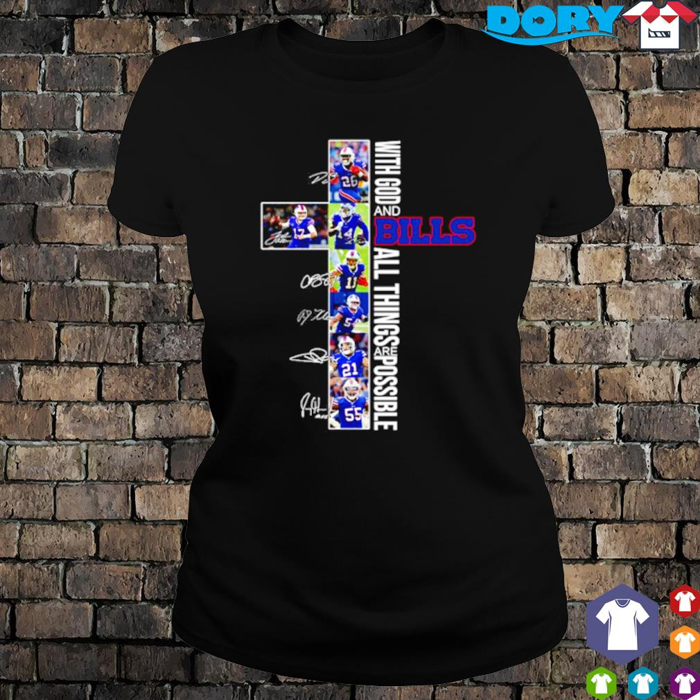 Christ with God and Bills all things are possible players signature s ladies tee