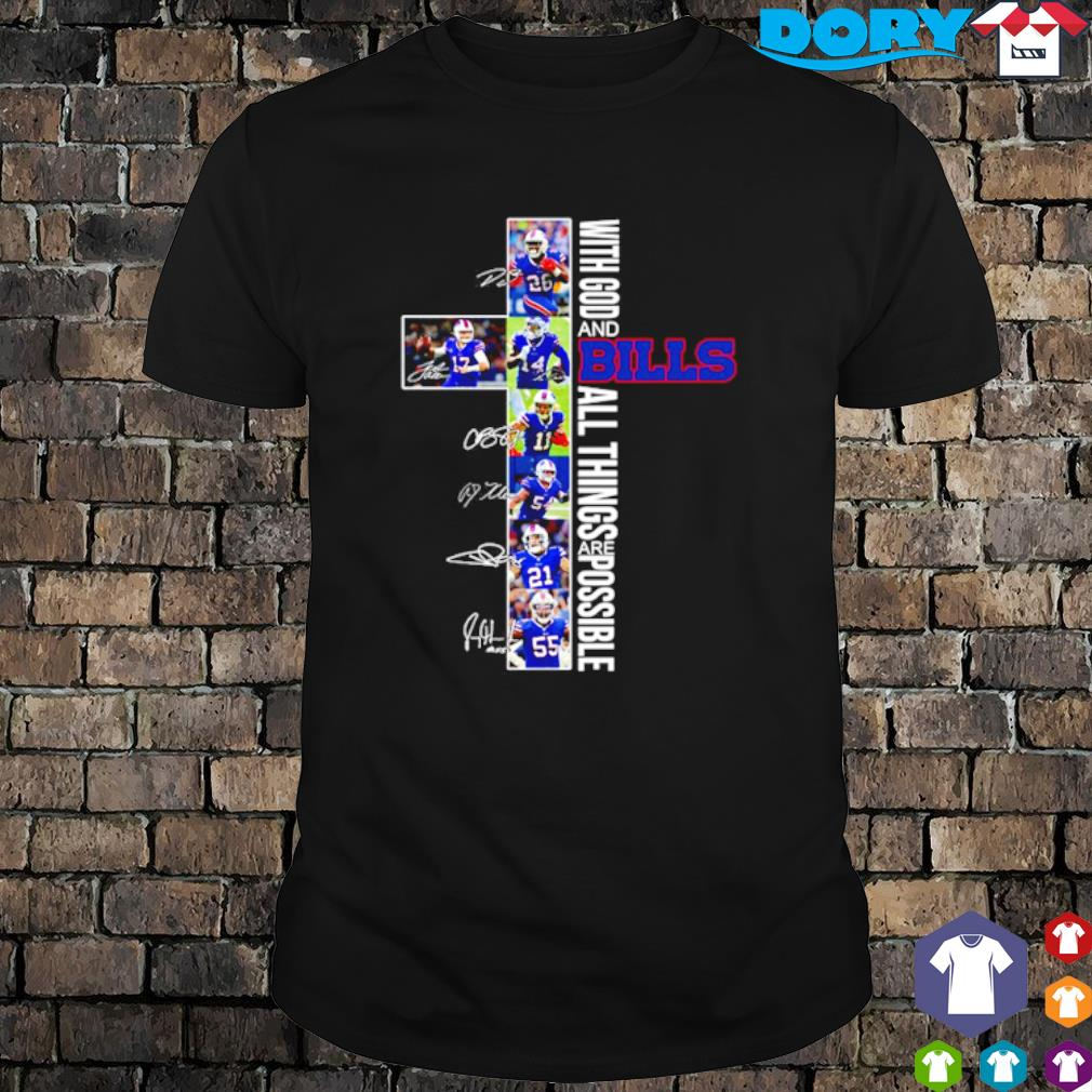Christ with God and Bills all things are possible players signature shirt