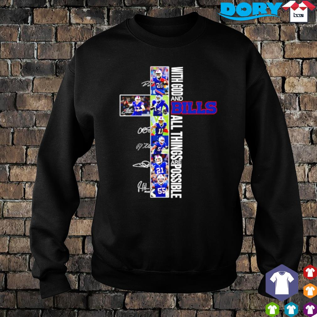 Christ with God and Bills all things are possible players signature s sweater