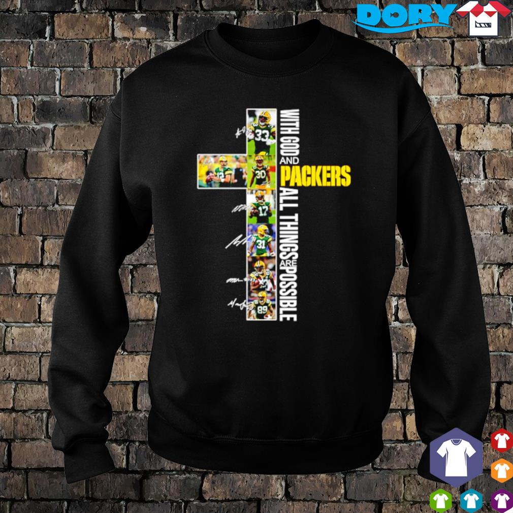 Christ with God and Packers all things are possible players signature s sweater