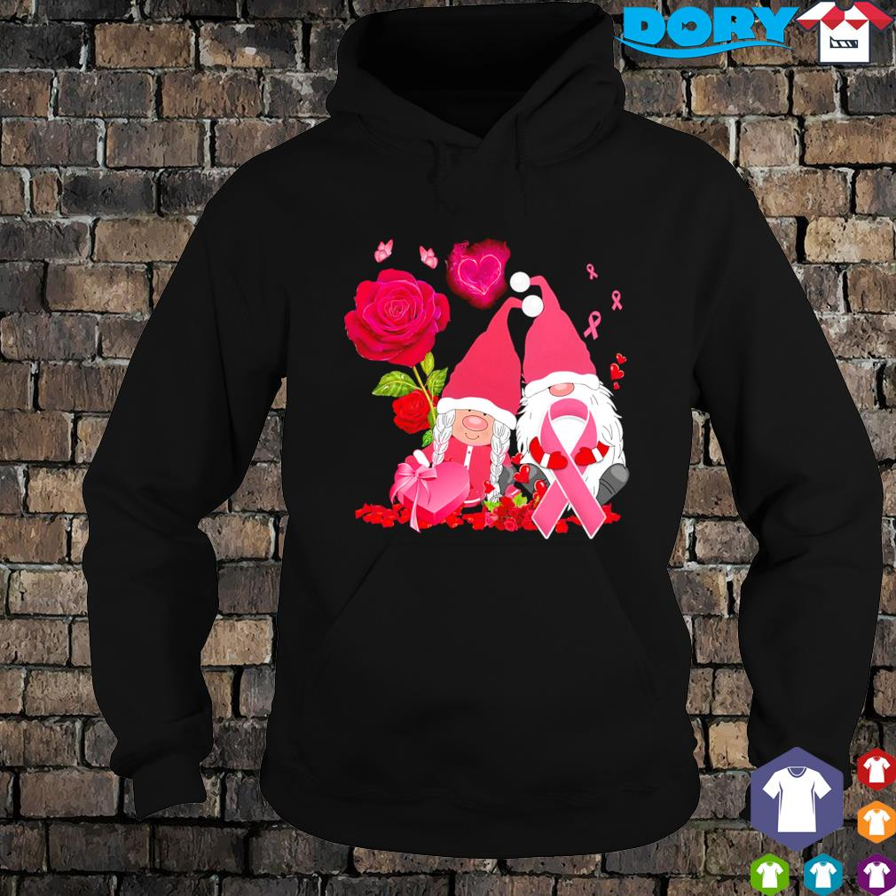 Gnomes hug Breast Cancer Valentine's day s hoodie