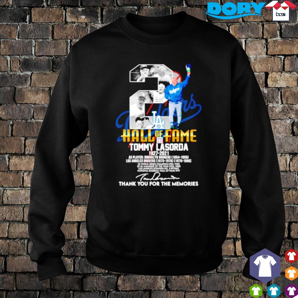 Los Angeles Dodgers Tommy Lasorda 1927 2021 hall of fame thank you for the memories s sweater